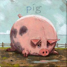 fat pig canvas art print by darren gygi