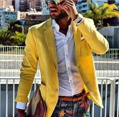 Yellow Blazer paired with floral print pants!!
