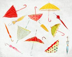 Septembre - Art - Print of an original illustration - Color Print - Drawing - Autumn Rain Umbrella Collection- Children room decor Autumn Rain, Art For Art Sake, Pattern Illustration, Print Patterns, Original Artwork, Etsy, Art Prints, Rain Umbrella, Sketches