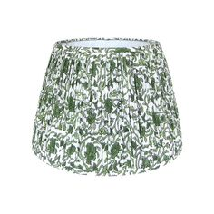 DETAILS: - New, handcrafted, pleated lampshade - Fabric: Indian block print cotton fabric. Colors include shades of green on an ivory background. Custom Lamp Shades, Small Lamp Shades, Table Lamp Shades, Green Lamp Shade, Shades Of Green, Pleated Lamp Shades, Indian Block Print, Mountain Designs