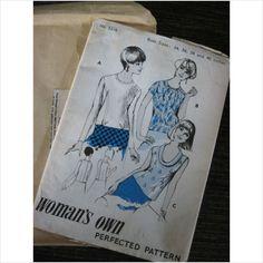 "Vintage 1960's Womans Own pattern 5216 ladies blouse Bust 34"" - 40"""