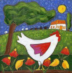 La poule Églantine et ses petits par Isabelle Malo • Acrylique sur toile et collage • Mixed media • Folk art  • www.isamalo.com • Artiste peintre du Québec •Art naïf