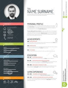 Photo About Vector Minimalist Cv / Resume Template   Dark Color Version    50265809