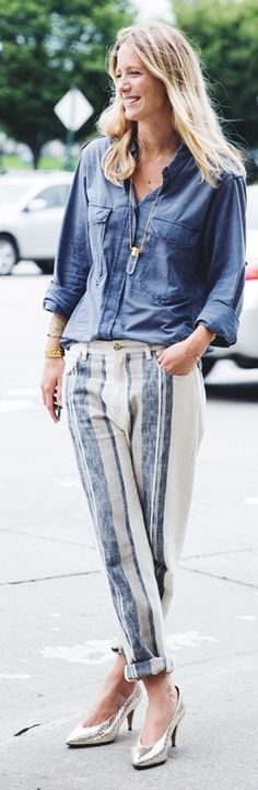 Blue And White Roll Up Stripe Linen Trousers                                                                             Source
