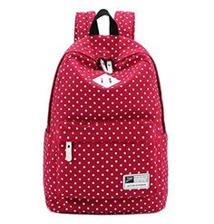 Ehdching Cute Polka DOT Canvas School College High School Laptop Bag Students Backpack (Red)