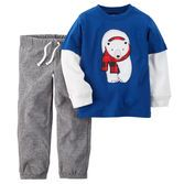 He's all set for playtime in fuzzy microfleece pants and a soft layered-look tee. Plus, a 2-piece set makes getting dressed easy!<br>