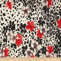 Stretch ITY Jersey Knit Shimmer Animal Coral/Black