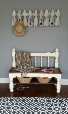 How to make a twin headboard bench out of a bunk bed. This sweet little bench having a lower shelf is perfect for a mud room, entryway or even a the end of the bed.
