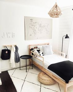 When your kids' room looks better than your own 😍🖤 we are so in love with boys' bedroom! Featuring our Amaro thin stripe… Ikea Toddler Bed, Boy Toddler Bedroom, Big Boy Bedrooms, Boys Bedroom Decor, Toddler Rooms, Boy Room, Kid Rooms, Scandinavian Interior Kids, Scandinavian Nursery