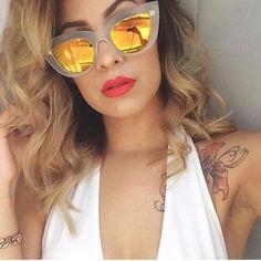 13dd740a172 Oversized Cat Eye Blue Mirrored Sunglasses - Clara