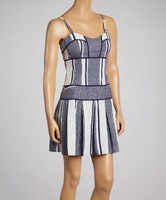Navy & White Stripe A-Line Dress by Aryeh #zulily #zulilyfinds