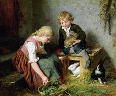 paintings rabbits  | The Rabbits Painting by Felix Schlesinger - Feeding The Rabbits ...