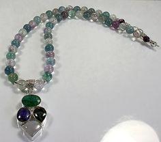 OOAK Fluorite Necklace  rainbow fluorite quartz by nellajuwels, $30.00