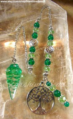 Tree of Life Pendulum  Green Onyx Pendulum Green by StarshineBeads