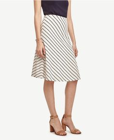 Thumbnail Image of Color Swatch 9192 Image of Stripe Flared Knit Skirt