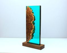 Wood and Resin decor - Turquoise night light design #ad
