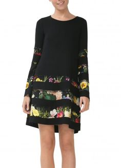 Desigual černé šaty Flare Sleeve Dress Rep / Different.cz