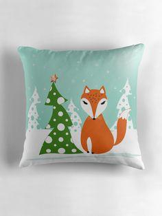 Christmas design. Cartoon red Fox,tree, snow . by marinaklykva