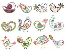 Paisley birds feathers filled embroidery designs