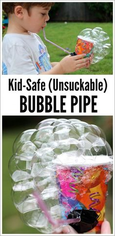 Make this easy bubble blower in 5 minutes with a few common items. Plus, you can't suck the solution back through the straw so it's great for younger kids!