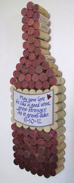 Handmade Wine Cork Wine Bottle Cork Board with Hand Cut Label, Personalized Calligraphy Quote, Add Date for Wedding or Anniversary Wine Craft, Wine Cork Crafts, Wine Bottle Crafts, Vase Deco, Wine Cork Projects, Wine Cork Art, Wine Bottle Corks, Bottle Bottle, Wine Decor