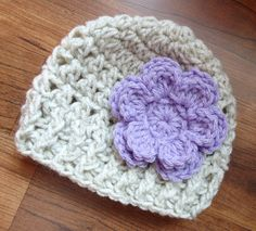 Crocheted Baby Girl Hat with Flower Crocheted by KaraAndMollysKids, $15.50