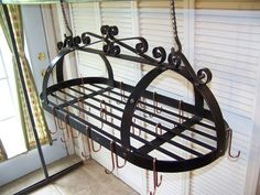 Wrought Iron Pot Rack by CRAFTBENDER on Etsy