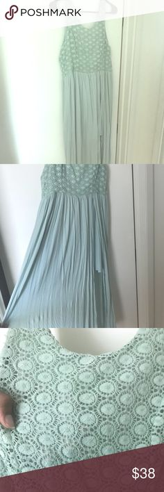 Mint green maxi dress from Altar'd State Beautiful mint green maxi dress. Only worn once. Has a high slit with a cover underneath. It's super flowy and comfortable. Wish I had more room in my closet for it. Feel free to make an offer :) Altar'd State Dresses Maxi