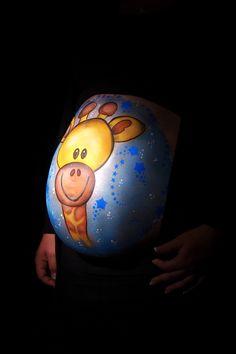 Giraffe belly painting