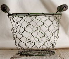 """Wire Gathering Basket 5.5"""" Wooden Handles $4.99 each / 6 for $4 each"""