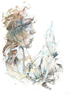 Invisible Lines by Carne Griffiths, via Behance. An exhibition of works in Ink, Tea, Alcohol and embroidered thread. Portraiture, Abstract and Floral Works. Illustrations, Illustration Art, Art Web, Watercolor Portraits, Watercolor Ideas, Watercolor Paper, Caricatures, Online Art Gallery, Artist At Work
