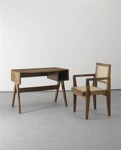 """Work table and """"Clerk's"""" chair, from Chandigarh, India, 1952-56, Exhibited: P3, University of Westminster, London, The Furniture of Chandigarh: Le Corbusier and Pierre Jeanneret, 20 June-12 July 2009"""