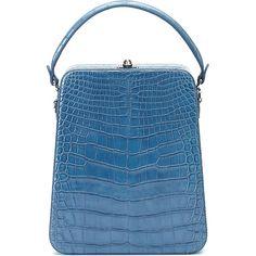 Tall Bertoncina Alligator Bag | Moda Operandi (26.130 RON) ❤ liked on Polyvore featuring bags, handbags, alligator bag, pocket purse, pocket bag, alligator purse and blue purse