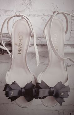 Channel High-heel Shoes- love the Bow and Peep toe together!