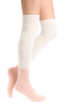 Free People Fuzzy Color Block Over-the-Knee Socks