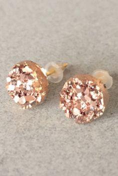 pretty druzy stud earrings