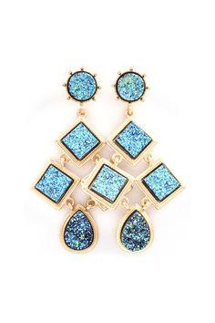 Blue Druzy Chandelier Earrings