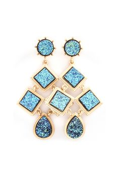 Blue Druzy Chandelier Earrings