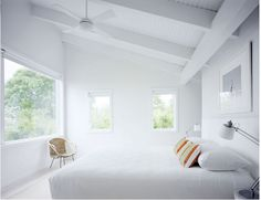Light airy bedroom with pitched ceiling & view from bed