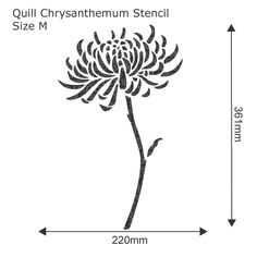 Quill Chrysanthemum Flower Stencil - Reusable wall stencil, perfect for decorating projects. See more flower wall stencils at The Stencil Studio