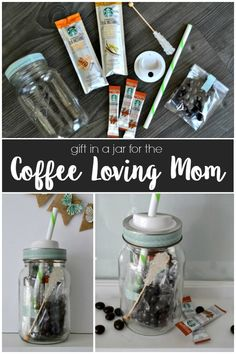 This fun and easy jar is the perfect Mother's Day gift for the coffee loving mom! Perfect Mother's Day Gift, Perfect Christmas Gifts, Best Iced Coffee, Creative Gift Wrapping, Coffee Lover Gifts, Coffee Lovers, School Gifts, Jar Gifts, Homemade Gifts