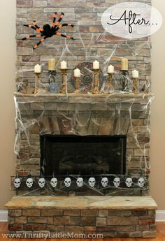 4 Fabulous Fall Mantel Makeovers!  Using little to no money, this lady made these amazing fireplace looks!