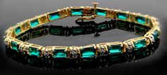 Diamond and Emerald Bracelet w/ White Gold Accents in 10K Yellow Gold