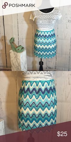 NWT Chevron Skirt NWT high waisted chevron skirt with white and different shades of blue. This skirt is a really fun and unique piece! I am also open to selling the shirt and shoe styled with the skirt if interested! The skirt has never been worn and is in perfect condition! Skirts