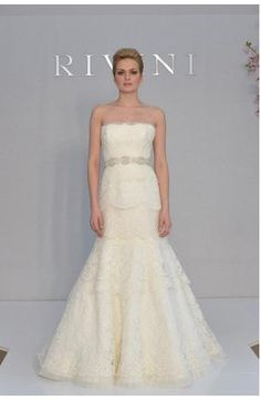 Strapless Mermaid Wedding Dress  with Natural Waist in Alencon Lace. Bridal Gown Style Number:32563900