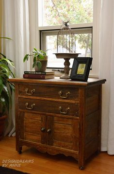 Beautiful antique nightstand dresser at Design Dreams by Anne topped of with antique brass hardware from D. Lawless!