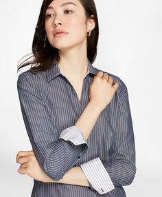 Non-Iron Fitted Striped Cotton Poplin Shirt - BB AU Ecommerce