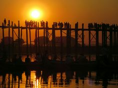 Sunset at U- Bein- Bridge, Amarapura, Myanmar Amarapura, Old Bridges, Inle Lake, Yangon, Mandalay, Paths, Wings, Album, Sunset