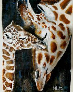 A Mothers Love Mothers Love, Giraffe, Artist, Painting, Animals, Felt Giraffe, Animales, Animaux, Artists
