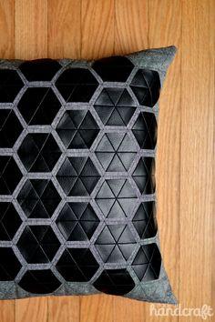 Modern Hexies – Pleather Applique Pillow using Sizzix by Modern Handcraft. http://modernhandcraft.com/2014/08/modern-hexies-pleather-applique-pillow/